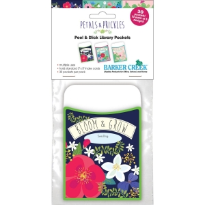 "Peel & Stick - Petals & Prickles Library Pockets, 3 1/2"" x 5 1/8"", Pack of 30"