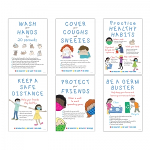 Be Healthy, Be Safe, Be Kind, 6Poster Set