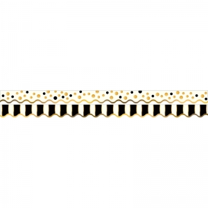 GOLD BARS BORDER DOUBLE-SIDED  SCALLOPED EDGE