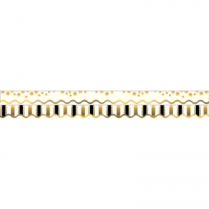GOLD COINS BORDER DOUBLE-SIDED  SCALLOPED EDGE