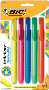 Brite Liner Highlighters, Chisel Tip, Assorted Colors, 5 Per Pack, 6 Packs