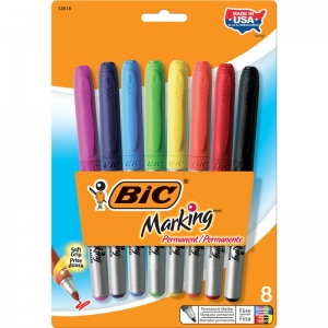 BIC MARK IT PERMANENT MARKERS 8 CT  FINE POINT ASSORTED COLORS