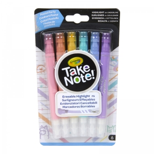 Take Note! Erasable Highlighters, Pastel Party, Pack of 6