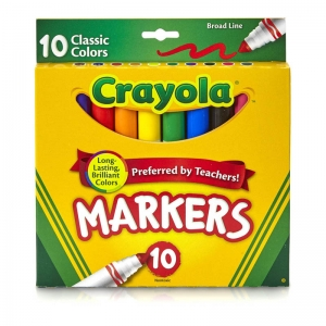 CRAYOLA BROAD LINE MARKERS 10CT  CLASSIC COLORS