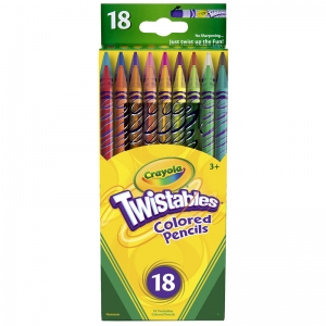 CRAYOLA TWISTABLES 18 CT COLORED  PENCILS