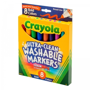 WASHABLE MARKERS 8 PK BOLD COLORS  BROAD LINE