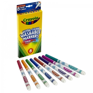 WASHABLE MARKERS 8CT BOLD COLORS  FINE TIP