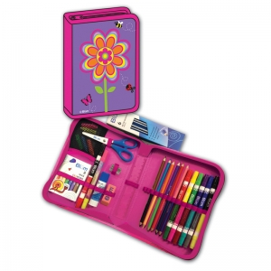 FLOWERS DESIGNED ALL IN ONE SCHOOL  SUPPLIES CARRYING CASE 41 PCS