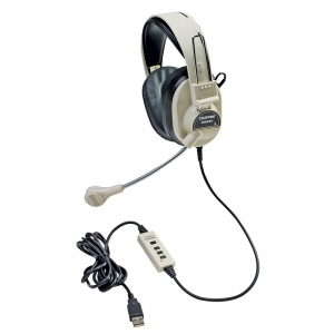 DELUXE MULTIMEDIA STEREO HEADSET W/  BOOM MICROPHONE W/ USB PLUG