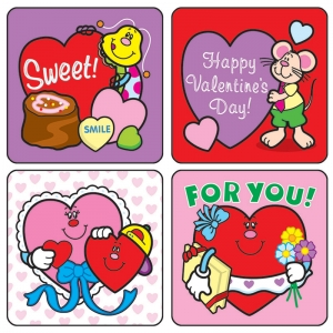 STICKERS VALENTINES DAY 120/PK ACID  LIGNIN FREE
