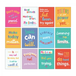 Mini Posters: Growth Mindset Quotes Poster Set, 12 Pieces