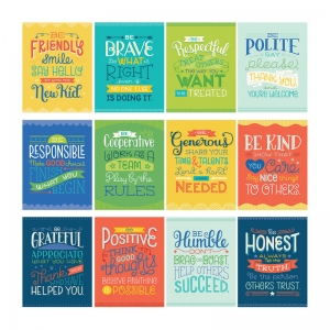 Mini Posters: Positive Character Traits Poster Set, 12 Pieces