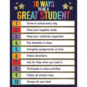 Sparkle + Shine Glitter 10 Ways to Be a Great Student Chart