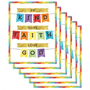 Be Kind Have Faith Love God Chart, Pack of 6