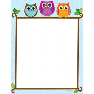 COLORFUL OWLS ON A BRANCH COMPUTER  PAPER