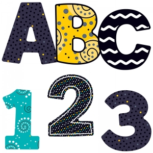 BLACK WHITE & BOLD EZ LETTERS 3IN  152 PCS