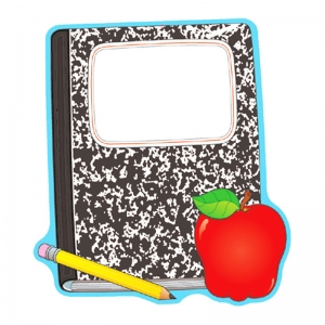 DECORATION COMPOSITION BOOK & APPLE  TWO-SIDED