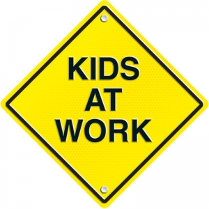 KIDS AT WORK TWO SIDED DECORATION