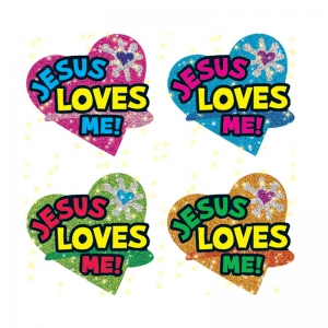 DAZZLE STICKERS JESUS LOVES 120/PK  ME