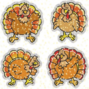 DAZZLE STICKERS TURKEYS 60PK ACID  & LIGNIN FREE