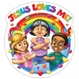 JESUS LOVES ME DECORATION TWO-SIDED