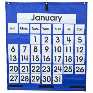 POCKET CHART MONTHLY CALENDAR  25 X 28