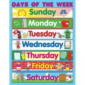 Days of the Week Chart, Pack of 6