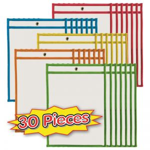 "Dry Erase Pockets, 9"" x 12"", Assorted Colors, Set of 30"
