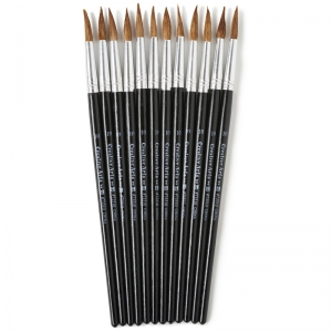 BRUSHES WATER COLOR POINTED #10  15/16 CAMEL HAIR 12 CT