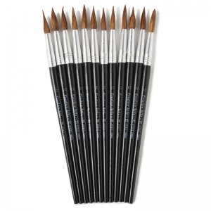 BRUSHES WATER COLOR POINTED #12  1-1/16 CAMEL HAIR 12 CT