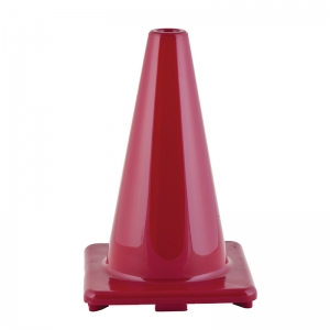 FLEXIBLE VINYL CONE 12IN RED  WEIGHTED