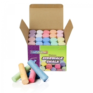 "Creativity Street Sidewalk Chalk, Assorted Colors, 4"", 20 Pieces"