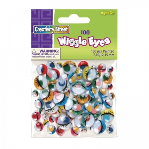 Creativity Street Wiggle Eyes, Painted, Assorted Sizes, 100 Pieces