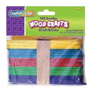 "Creativity Street Jumbo Craft Sticks, Bright Hues Assorted, 6"" x .75"", 100 Pieces"