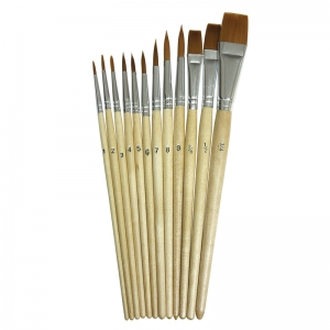 Creativity Street Watercolor Brush Assortment, Natural Wood, Assorted Sizes, 12 Brushes