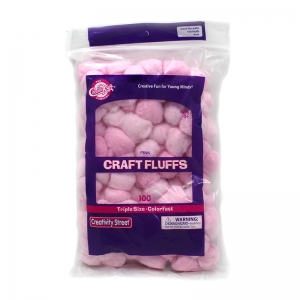 "Creativity Street Triple Size Craft Fluffs, Pink, Approx. 1"", 100 Pieces"