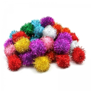GLITTER 1IN POM POMS BAG OF 40