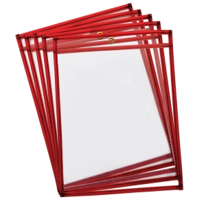 REUSABLE DRY ERASE POCKETS 10PK  FLUORESCENT RED