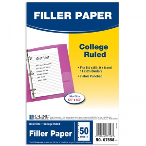 C-LINE WHITE MINI FILLER PAPER  RULED 50 SHEETS