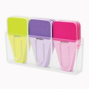 Solid Clip-Tabs, Pack of 24, Lime/Purple/Fuchsia