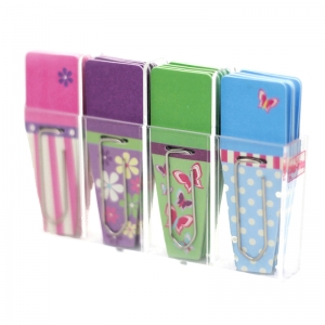 Spring Clip-Flags�, Pink/Purple/Green/Blue