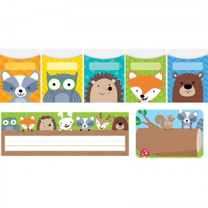 WOODLAND FRIENDS NAME PLATE LABEL  POCKETS COMBO SET