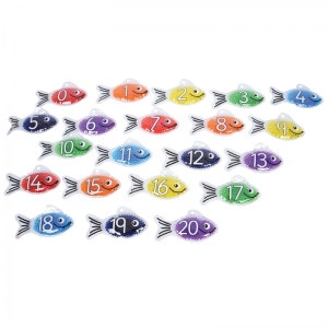 Rainbow Gel Number Fish, Set of 21