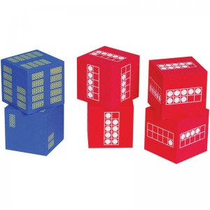 Ten Frame Foam Dice, Set of 6: 4 red and 2 blue
