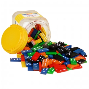 Double-Six Hardwood Color Dominoes, 168 Pieces
