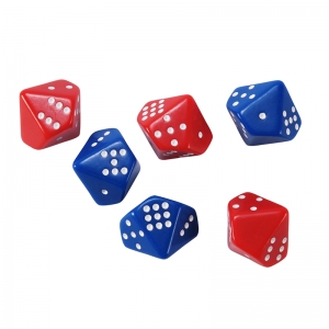 Subitizing Dice, Set of 6, 3 red/3 blue