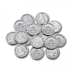 PLASTIC COINS 100 NICKELS