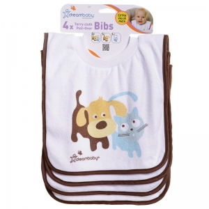 Terry Cloth Pullover Bibs  4 Pack Cute Pets