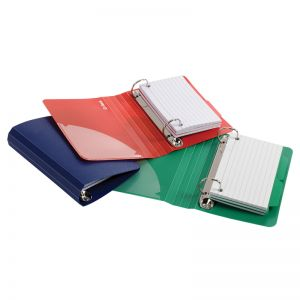 "Poly Index Card Binder, 3"" x 5"", Assorted Colors"