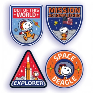 Peanuts NASA Sticker Badges, Pack of 40